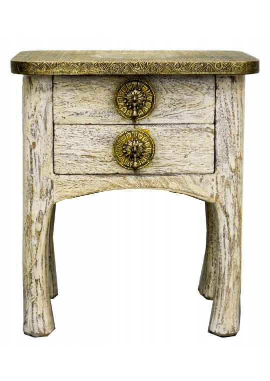 Indian Brass Rustic Painted Bedside