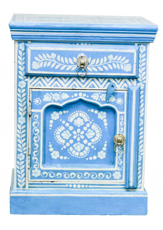 Blue Hand Painted Bone Inlay Bed Side Table
