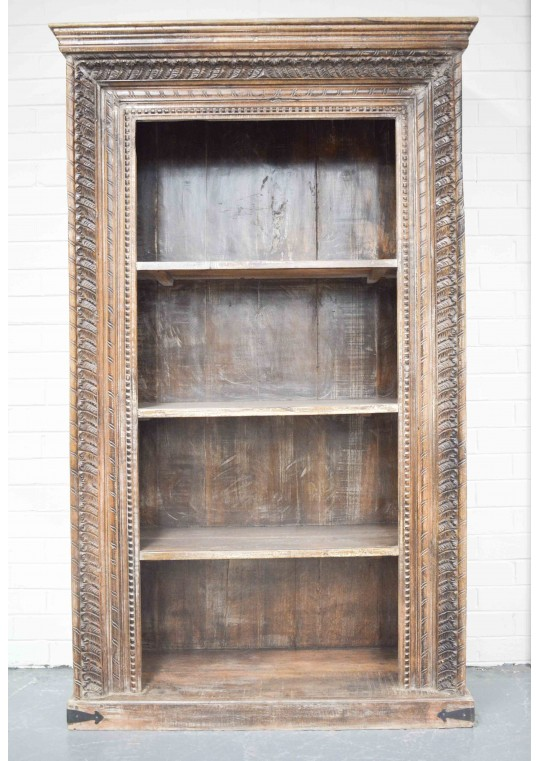 Reclaimed Timber Antique Carved Bookshelf
