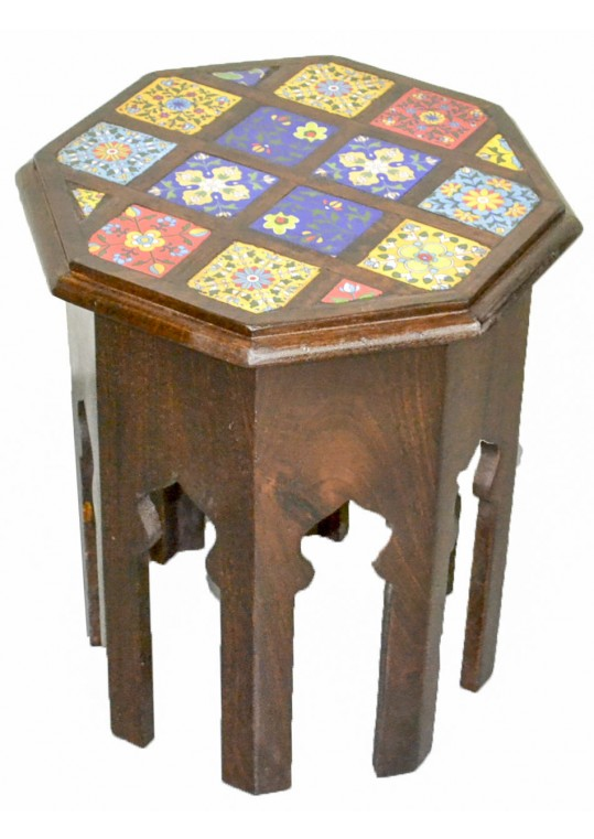 Octagonal Moroccan Tile Stool/Side Table