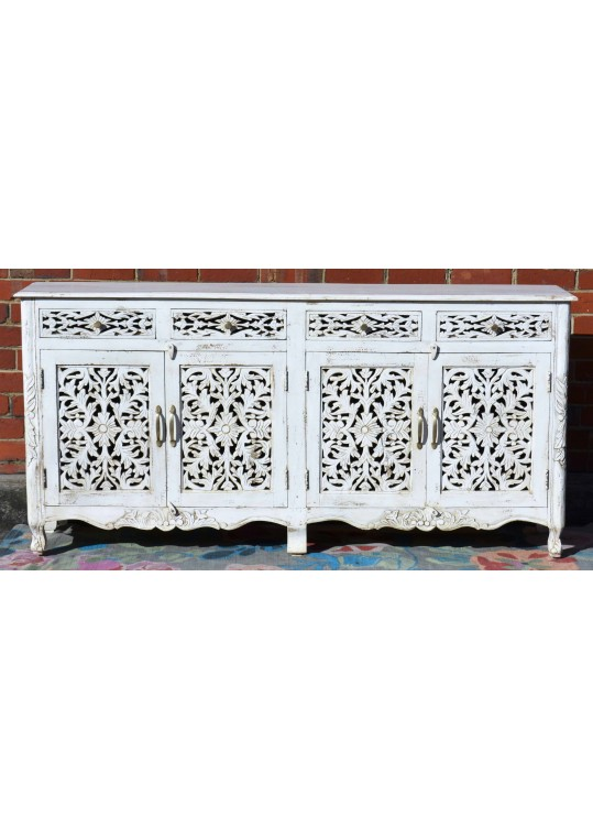 White Hand Carved French Provincial Buffet Sideboard