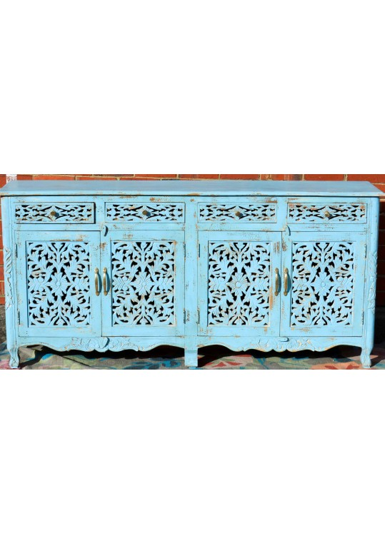 Blue Hand Carved French Provincial Buffet Sideboard