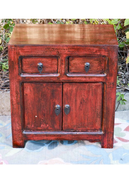 Oriental Red Antique Chinese Bedside Cabinet