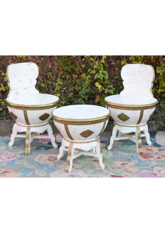 Indian Embossed Brass White Moroccan Table & Chair Set