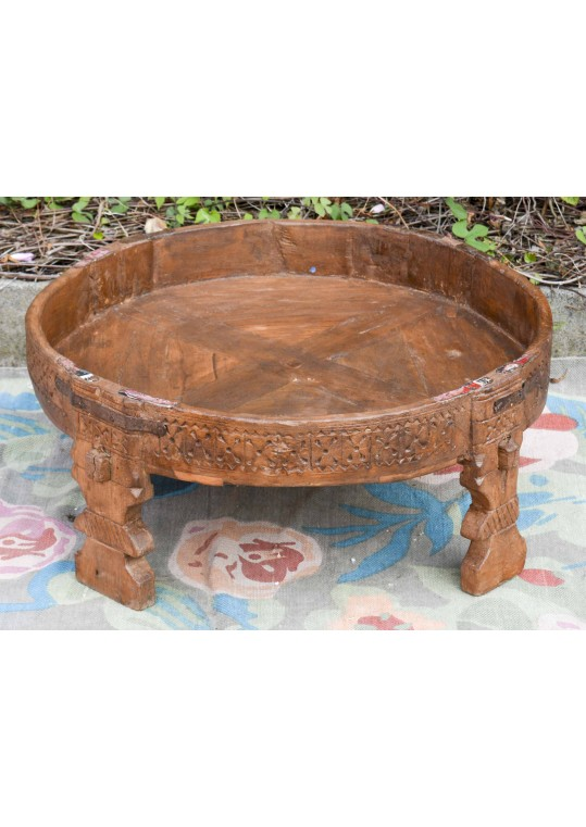 Antique Timber Carved Chakki Stool