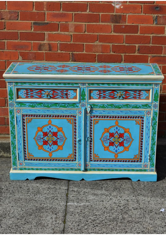 Blue Hand Painted Indian Floral Sideboard