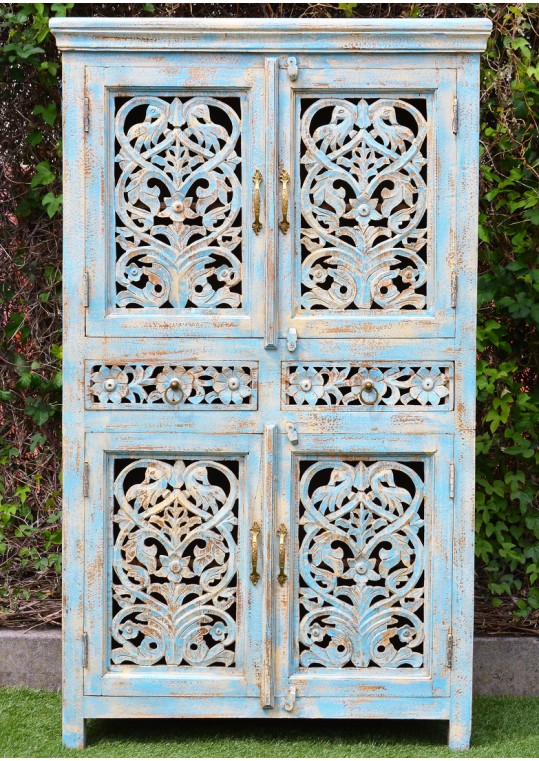 French Provincial Blue Hand Carved Storage Cabinet