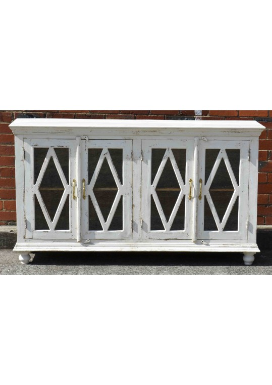 White French Provincial Diamond Glass Door Sideboard