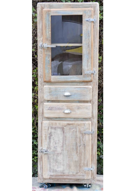 Whitewashed Timber Retro Industrial Display Cabinet