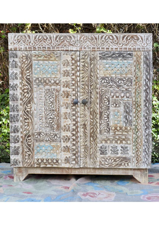 Handcarved Shabby Chic Sideboard Vanity Cabinet