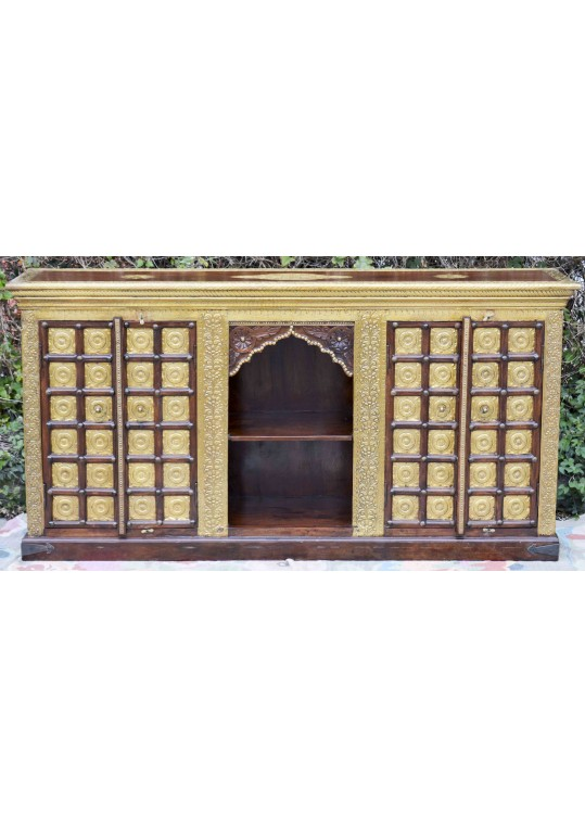 Indian Timber & Embossed Brass Arch Sideboard