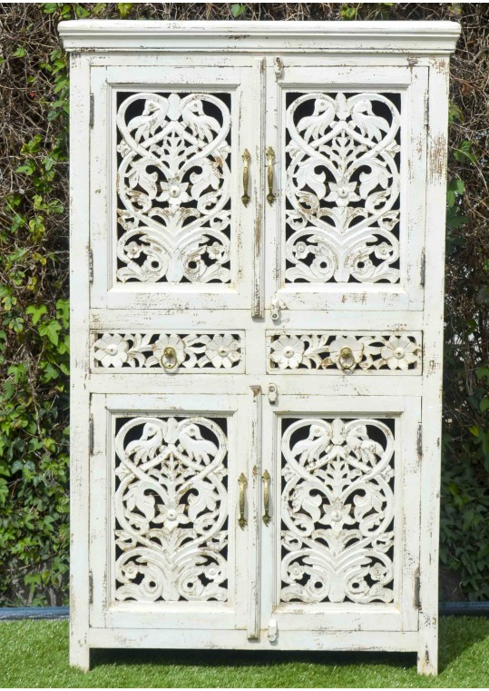 French Provincial White Hand Carved Storage Cabinet