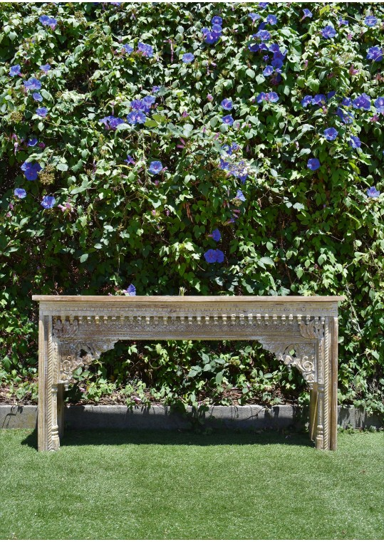 Distressed White Indian Hand Carved Ethnic Timber Console Table