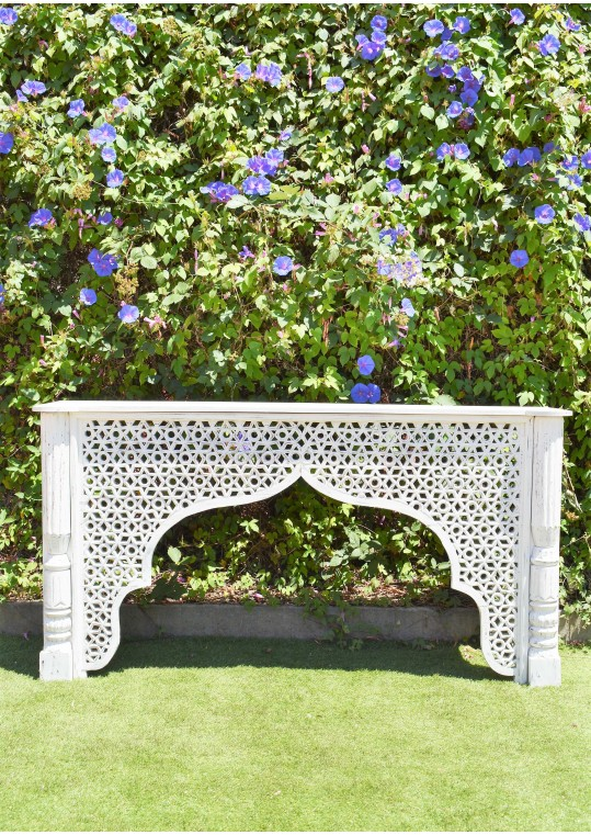 Distressed White Indian Carved Mehrab Console/Hall Table