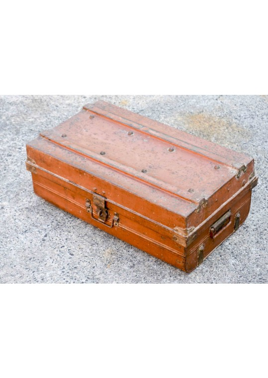 Orange Vintage Metal Travel Trunk Storage Case