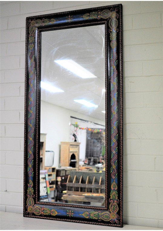 Long Hand Painted Embossed Design Boho Mirror