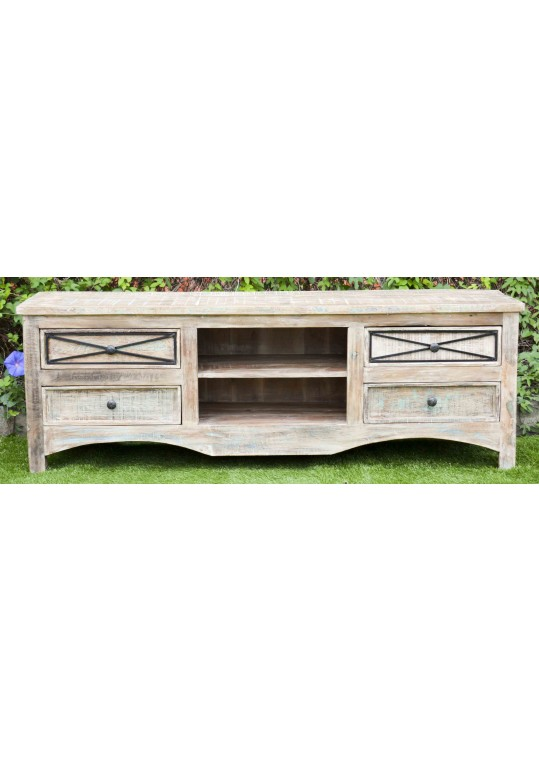 Rustic Shabby Chic Iron Detail Entertainment TV Unit