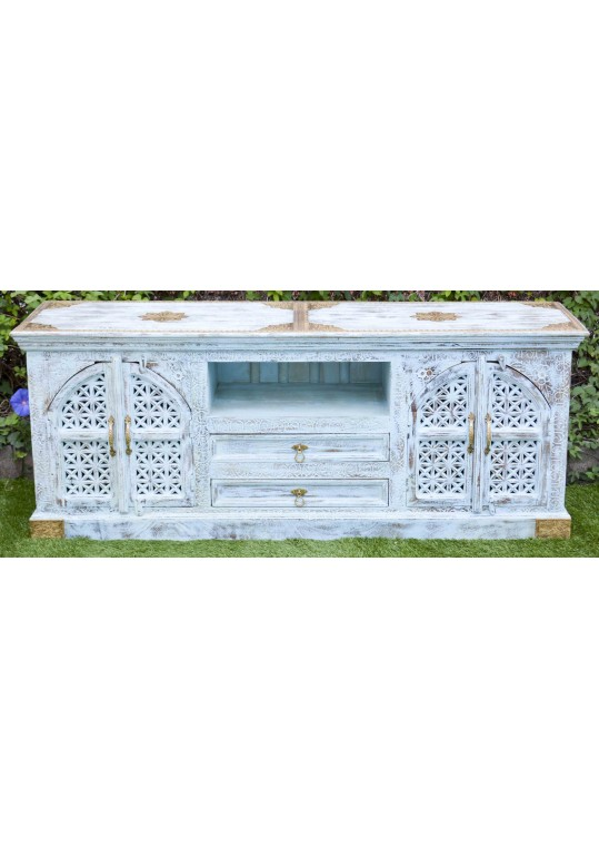 Sandblasted Blue Shabby Chic Embossed Brass Entertainment Unit