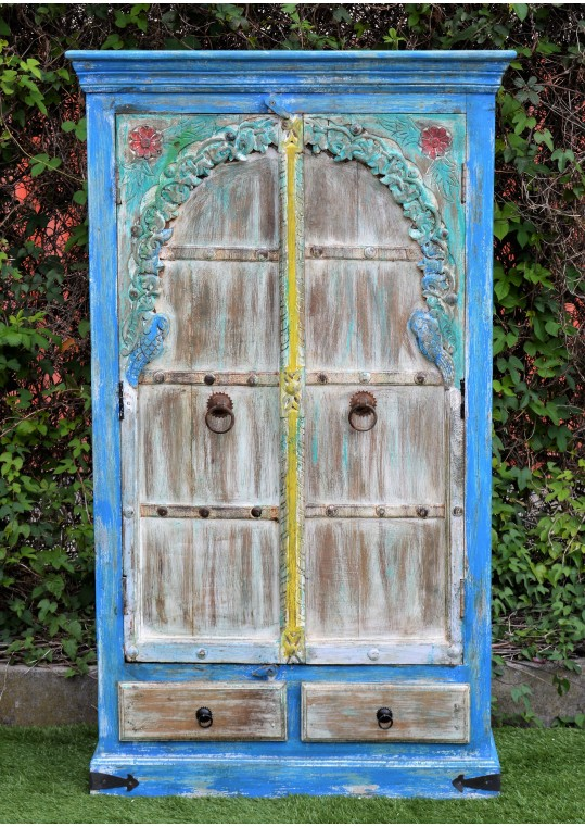 Hand Painted Rustic Boho Carved Floral Door Wardrobe
