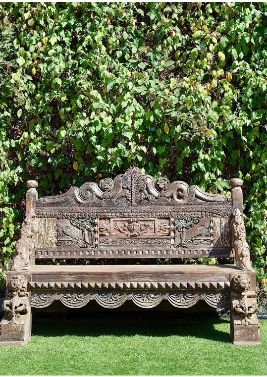 Reclaimed Timber Hand Carved Garden Bench Seat Indian Daybed