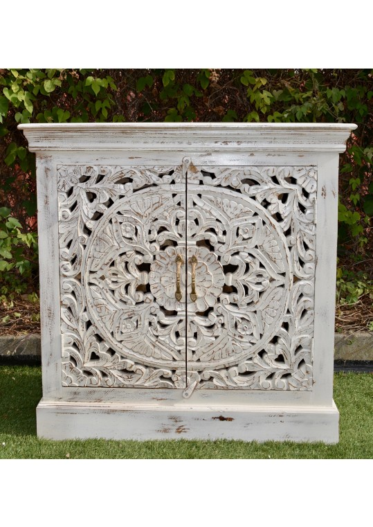 White French Provincial Floral Mandala Carved Sideboard Cabinet