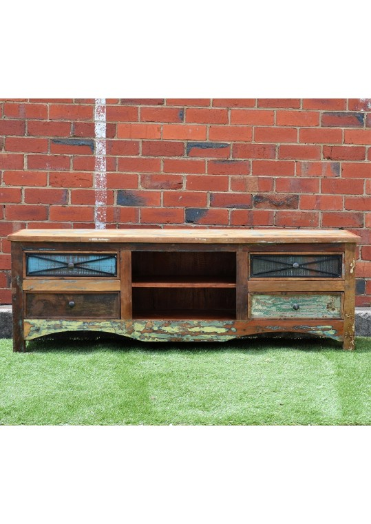 Rustic Recycled Timber Iron Detail Entertainment TV Unit