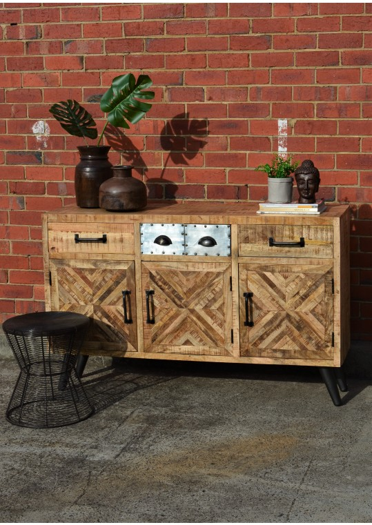 Scandinavian Timber Parquet & Metal Retro Industrial Style Sideboard