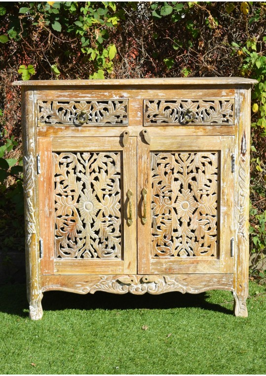 Shabby Chic Hand Carved French Provincial Sideboard Cabinet