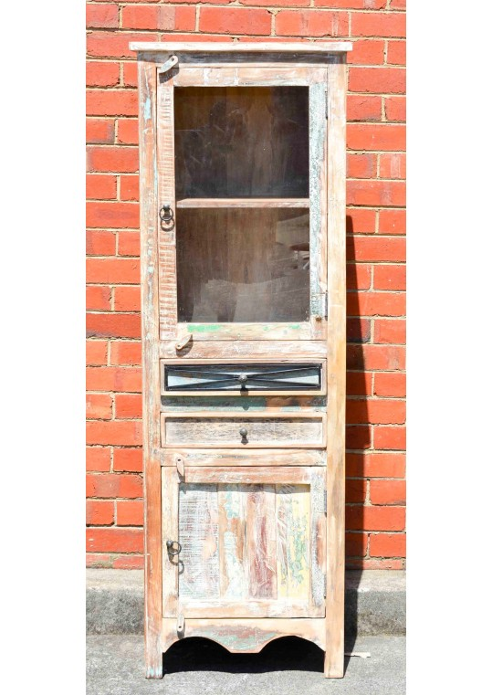Whitewashed Shabby Chic Timber Country Display Cabinet