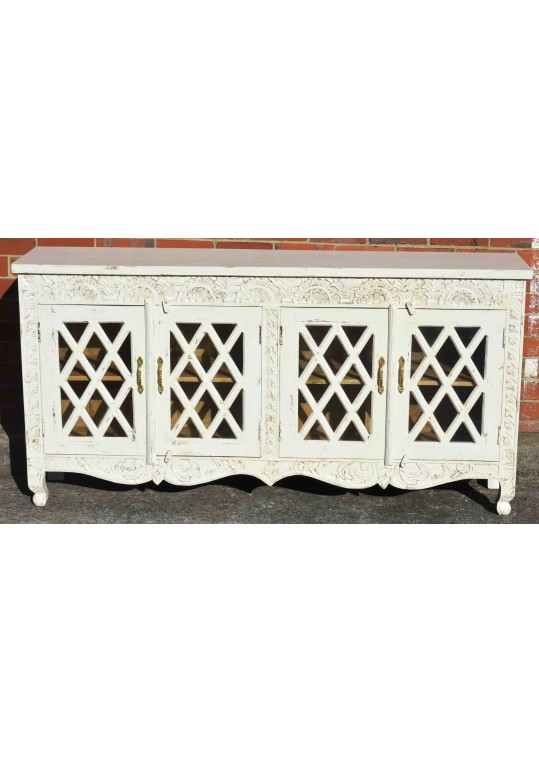 French Provincial White Carved Mirror Door Buffet Sideboard