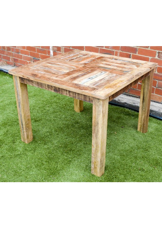 Plantation Mango Timber Distressed Country Square Dining Table (4 Seat)