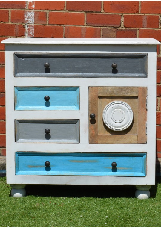 French Provincial Shabby Chic Painted Sideboard Cabinet