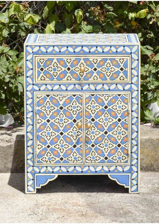 Blue Hand Painted Moroccan Geometric Pattern Bedside Cabinet