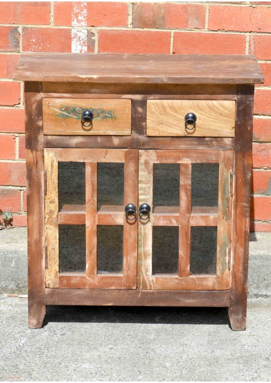 Vintage Recycled Timber & Glass Bedside Cabinet
