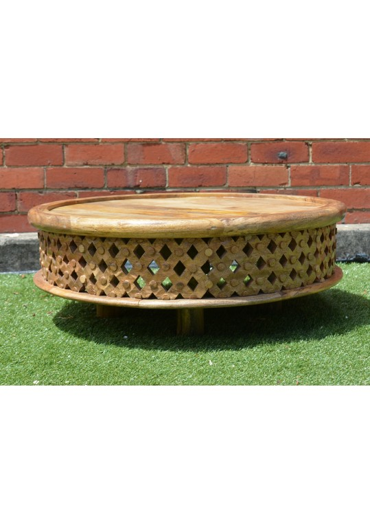 Hand Carved Timber Bamileke Low Coffee Table