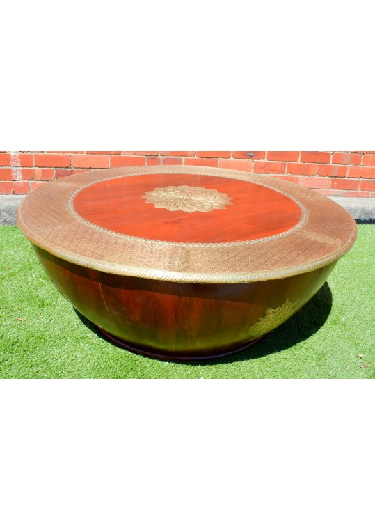 Indian Brass teak fitted drum round coffee table