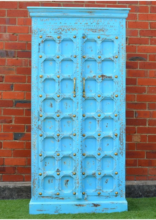 Shabby Chic Bright Blue Antique Door Timber Wardrobe