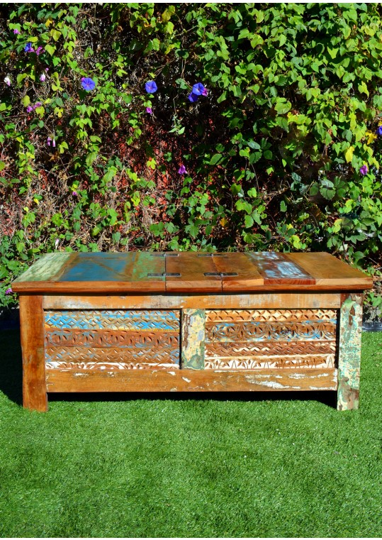 Vintage Recycled Timber Blanket Box Storage Table