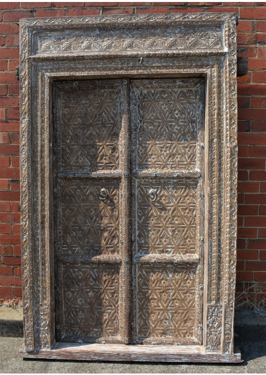 Whitewashed Timber Hand Carved Floral Geometric Pattern Indian Antique Door