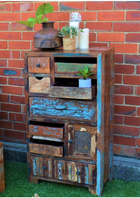 Rustic Recycled Timber Multi-drawer Vintage Cabinet