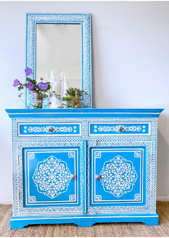 Blue Hand Painted Bone Inlay Sideboard