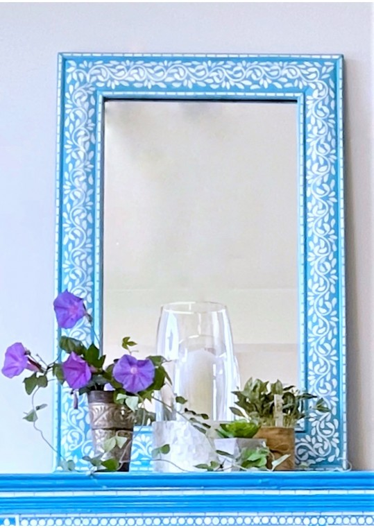 Blue Floral Bone Inlay Handpainted Boho Mirror