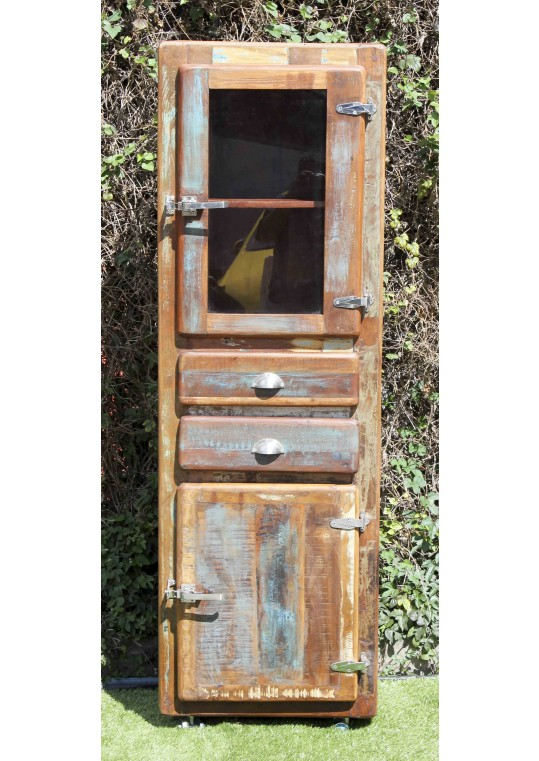 Reclaimed Timber Retro Industrial Display Cabinet