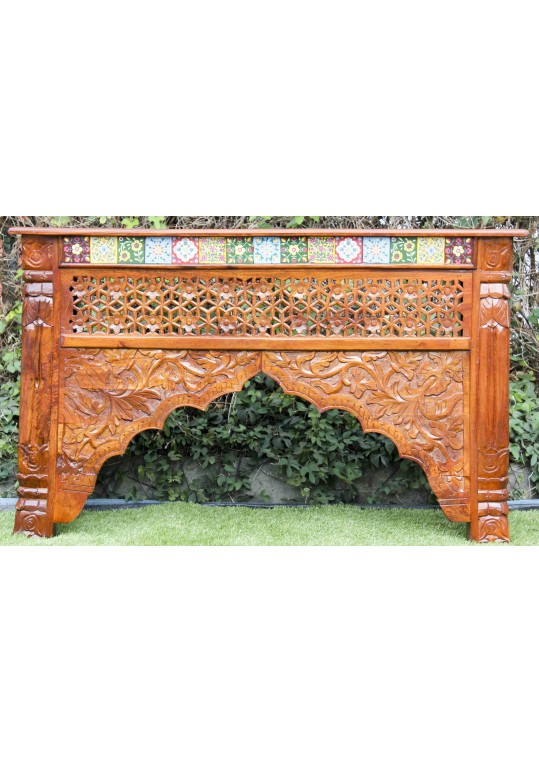 Hand Carved Moroccan Tile Console Table