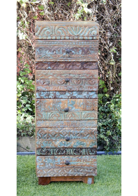 Hand carved Front Reclaimed Timber Tallboy