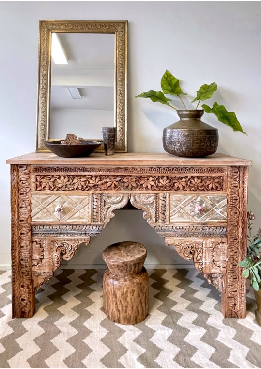 Reclaimed Indian Antique Hand Carved Timber Drawer Hall Table Console