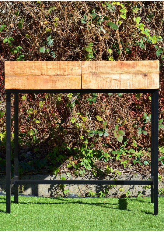 Contemporary Scandinavian Timber Vintage Industrial Console