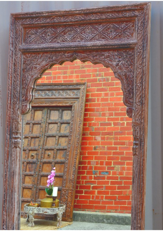 Whitewashed Indian Vintage Timber Mehrab Large Antique Mirror