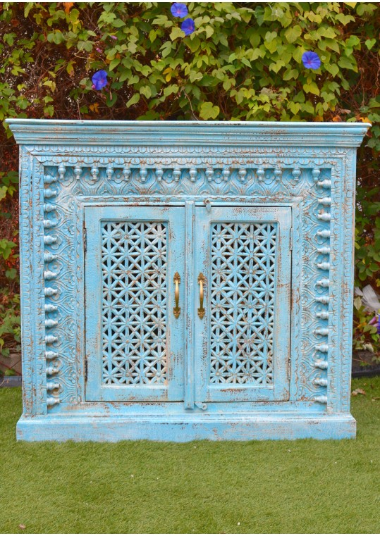 Distressed Blue Hand Carved Timber Cabinet Sideboard